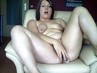 Chubby German girl fucks her ass and pussy here dildos