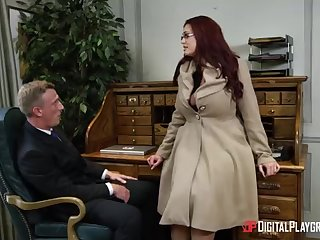 Alessandra Jane with the addition of Emma are having a 3some in their office, instead of rendering their bustle