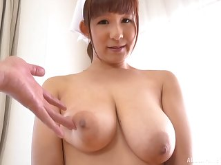Busty Sakurano Yuina shows off their way boobs and sucks their way man dry