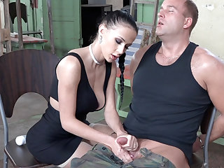 Sexy brunette duplicate fool around with dick of military
