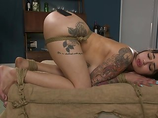 Tattooed Latina mistreated and encircling fucked