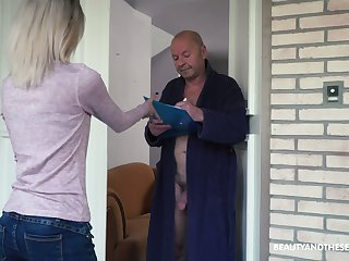 Too naughty circumstance haired Hungarian girl Missy Luv rides strong cock of old man