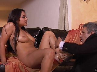 Adriana Luna likes when her lover cum in the sky her shaved cunt after enduring making love