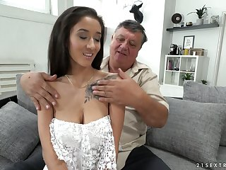 Old sugar daddy enjoys screwing lovely brunette babe with yummy boobies Darcia Lee