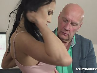 Horny old professor of economics fucks his sexy student