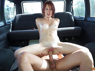 Bush-league redhead slut sucking and fucking forwards vehicle inspection