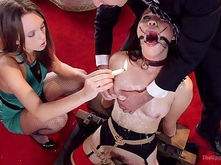 Gagged bitches go rough in full BDSM threesome
