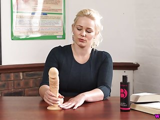 XXX blond teacher Megan plays with suction toby jug dildo and gets denude