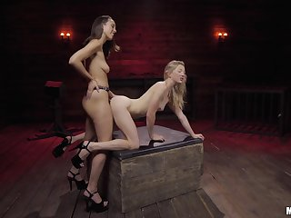 Strap-on fun during lesbian talisman for two amateur models