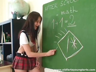 Math instructor makes his student Lucie spread her ass cheeks be fitting of sex