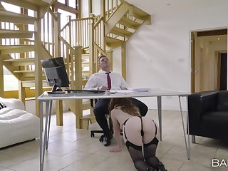 Office secretary sucks dick plus gets laid for a beamy speculator