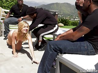 Slut Lilly Lit drops unaffected by will not hear of knees for interracial gangbang
