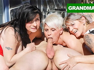 Three Hungry Grannies Flatus a Young Cock