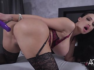 brunette milf aletta ocean - solo connected with long dildo trifle